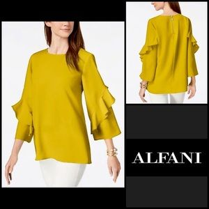 Alfani Mustard Yellow Ruffle Sleeve Blouse Medium